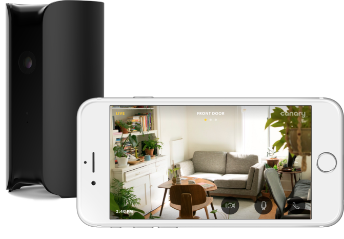 Canary home security camera enables live video streaming on your iOS or Android phone device