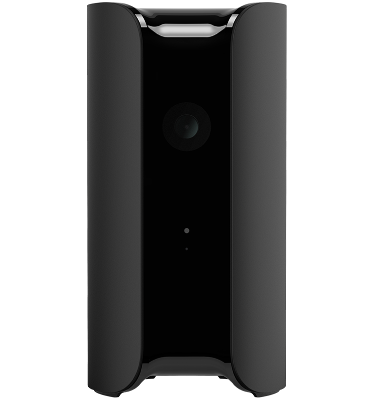 Black Canary Pro security camera with a siren and temperature, humidity, and air quality sensors.
