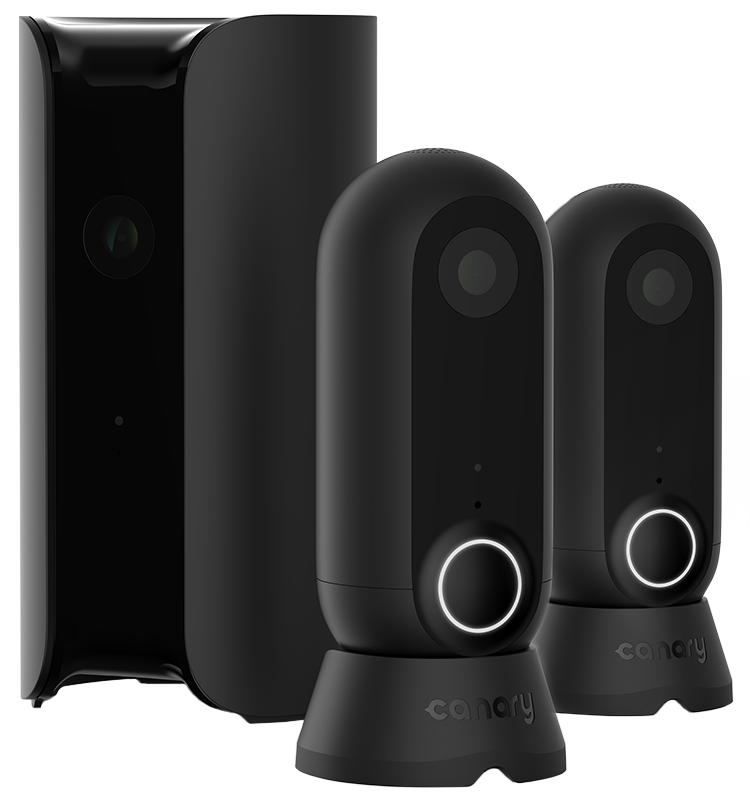 Set of home security cameras - one Canary Pro and two Canary Flex for monitoring and surveillance